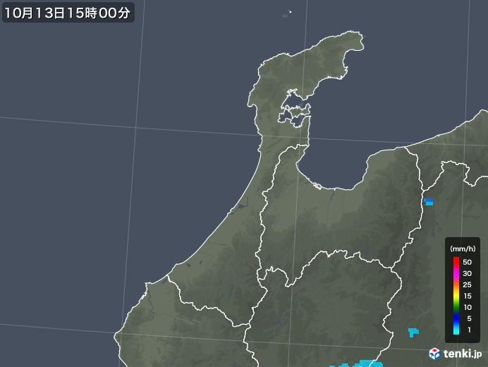 石川県の雨雲レーダー(2017年10月13日)