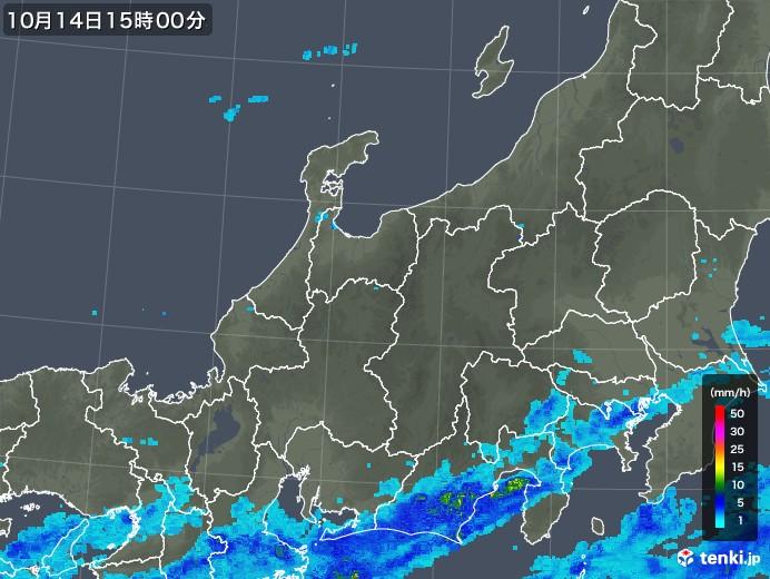 北陸地方の雨雲レーダー(2017年10月14日)