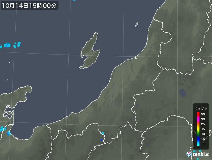 新潟県の雨雲レーダー(2017年10月14日)