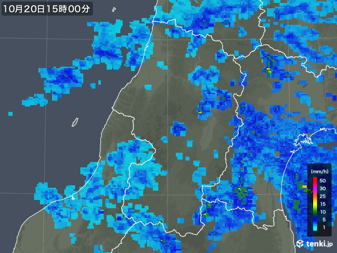 山形県の雨雲レーダー(2017年10月20日)