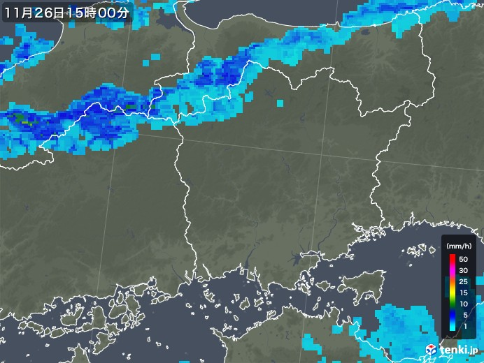 岡山県の雨雲レーダー(2017年11月26日)