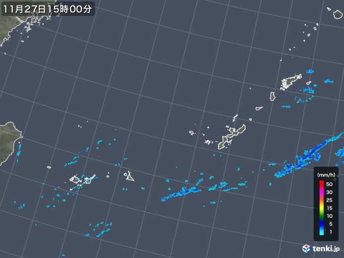 沖縄地方の雨雲レーダー(2017年11月27日)