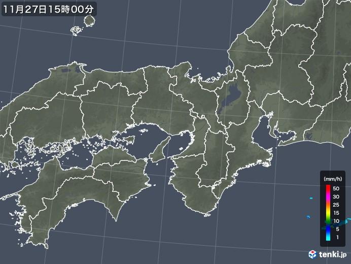 近畿地方の雨雲レーダー(2017年11月27日)