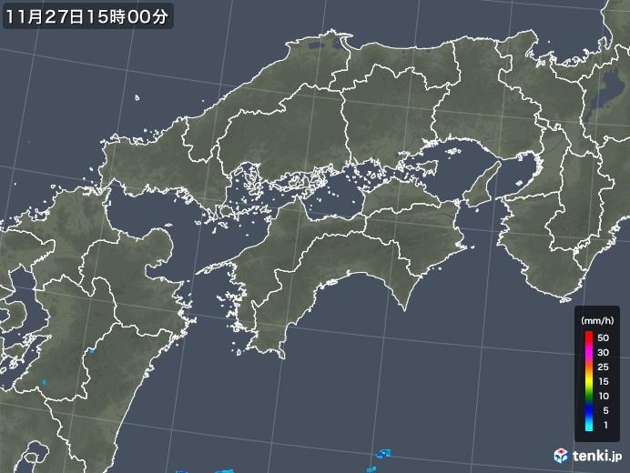 四国地方の雨雲レーダー(2017年11月27日)