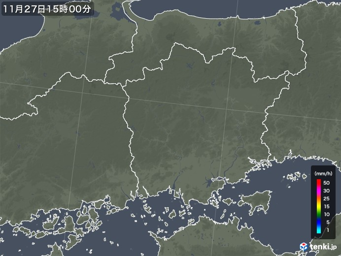 岡山県の雨雲レーダー(2017年11月27日)
