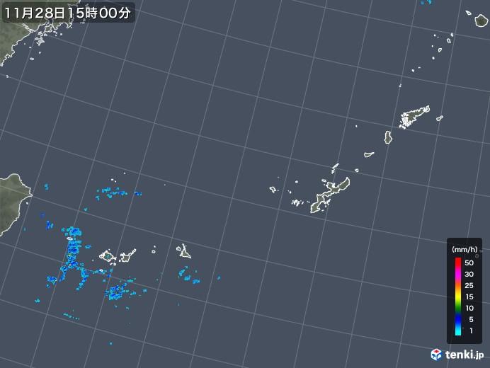 沖縄地方の雨雲レーダー(2017年11月28日)