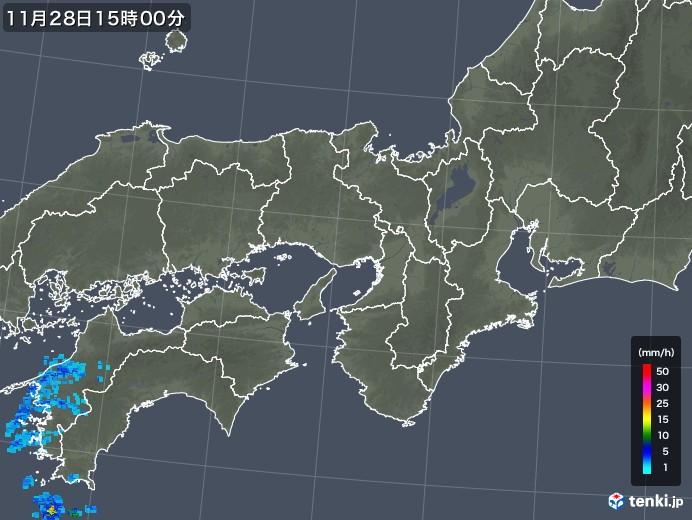 近畿地方の雨雲レーダー(2017年11月28日)