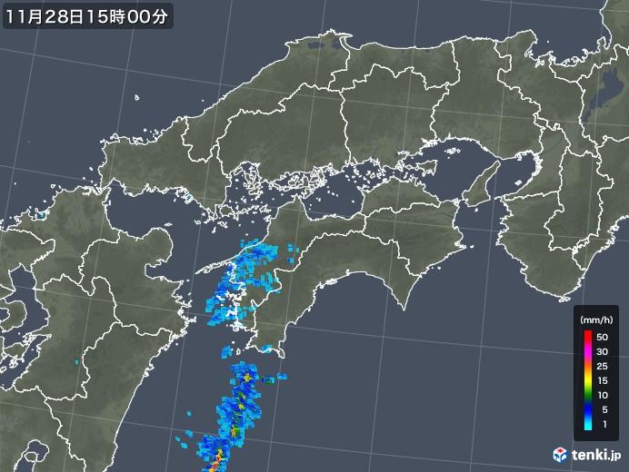 四国地方の雨雲レーダー(2017年11月28日)