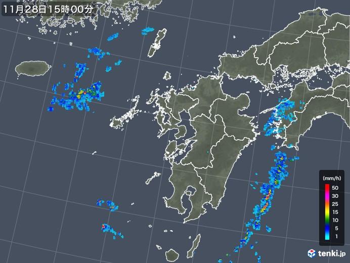 九州地方の雨雲レーダー(2017年11月28日)