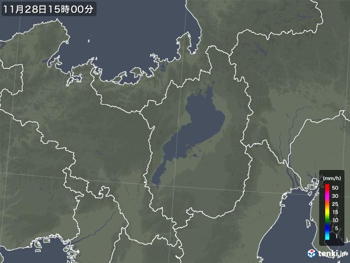 滋賀県の雨雲レーダー(2017年11月28日)