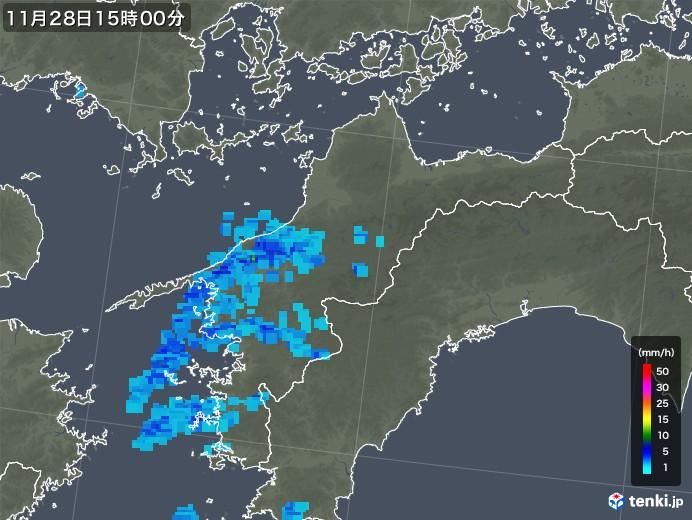 愛媛県の雨雲レーダー(2017年11月28日)
