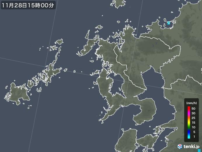 長崎県の雨雲レーダー(2017年11月28日)