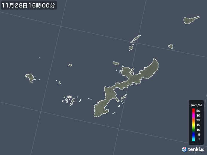 沖縄県の雨雲レーダー(2017年11月28日)