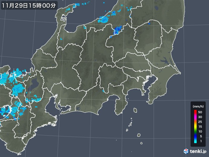 関東・甲信地方の雨雲レーダー(2017年11月29日)