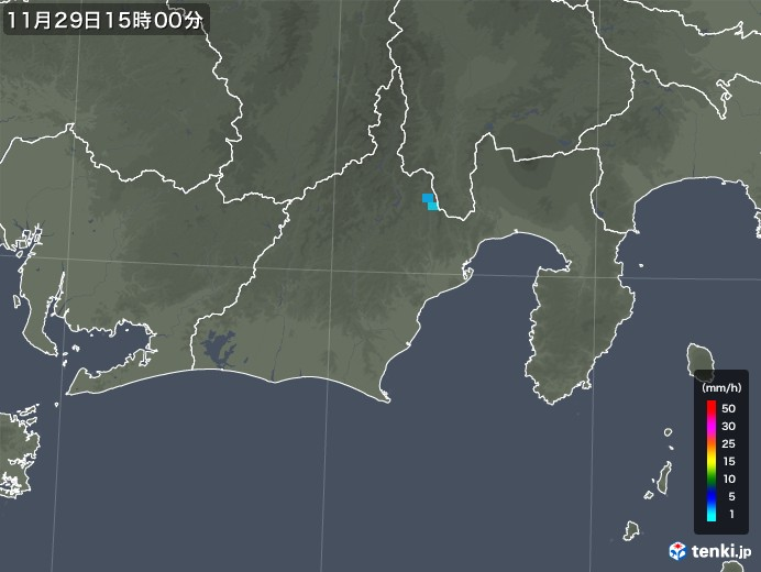 静岡県の雨雲レーダー(2017年11月29日)