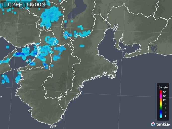 三重県の雨雲レーダー(2017年11月29日)