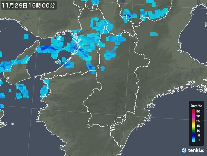 奈良県の雨雲レーダー(2017年11月29日)