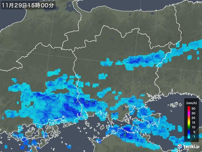 岡山県の雨雲レーダー(2017年11月29日)