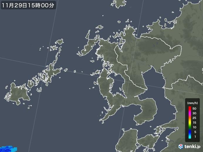 長崎県の雨雲レーダー(2017年11月29日)