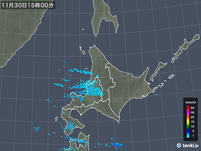 北海道地方の雨雲レーダー(2017年11月30日)