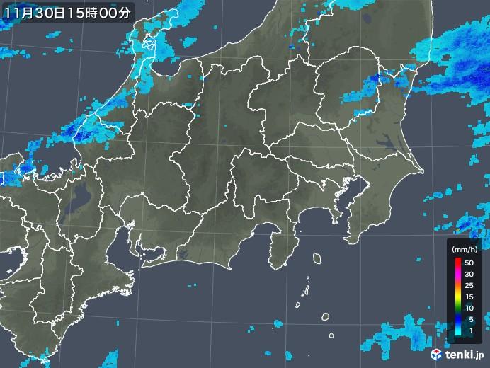 関東・甲信地方の雨雲レーダー(2017年11月30日)