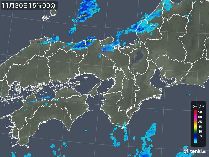 近畿地方の雨雲レーダー(2017年11月30日)