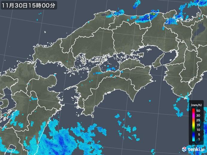 四国地方の雨雲レーダー(2017年11月30日)