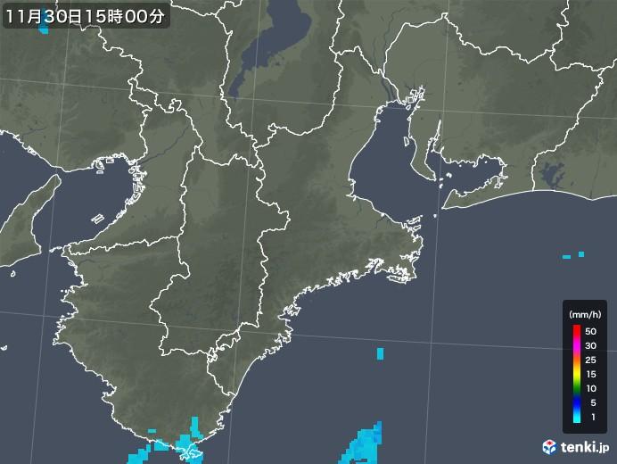 三重県の雨雲レーダー(2017年11月30日)