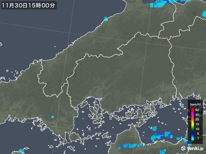 広島県の雨雲レーダー(2017年11月30日)