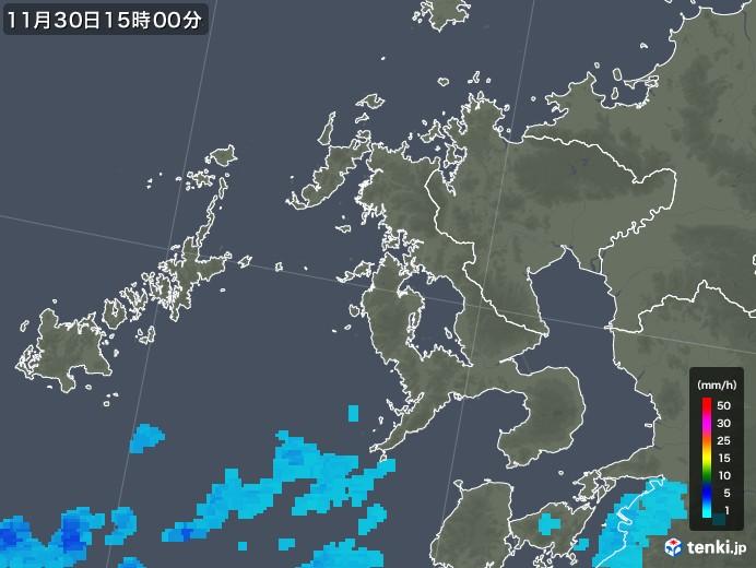 長崎県の雨雲レーダー(2017年11月30日)