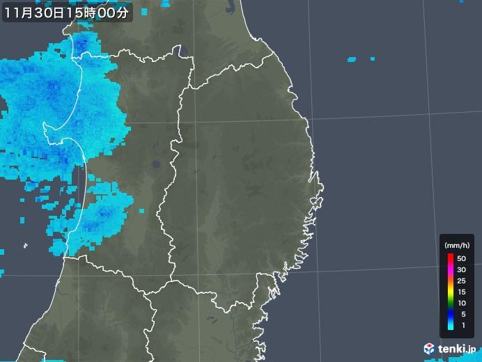 岩手県の雨雲レーダー(2017年11月30日)