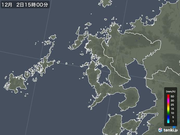長崎県の雨雲レーダー(2017年12月02日)