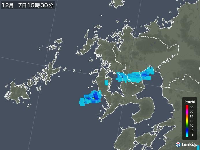 長崎県の雨雲レーダー(2017年12月07日)