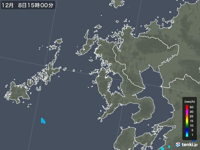 長崎県の雨雲レーダー(2017年12月08日)