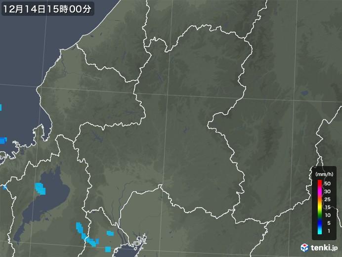 岐阜県の雨雲レーダー(2017年12月14日)