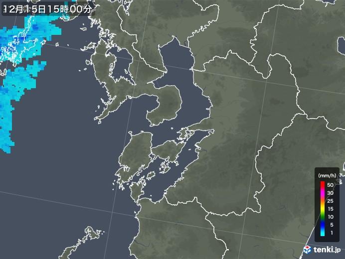 熊本県の雨雲レーダー(2017年12月15日)