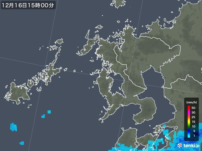 長崎県の雨雲レーダー(2017年12月16日)