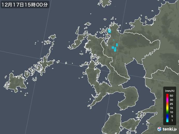 長崎県の雨雲レーダー(2017年12月17日)