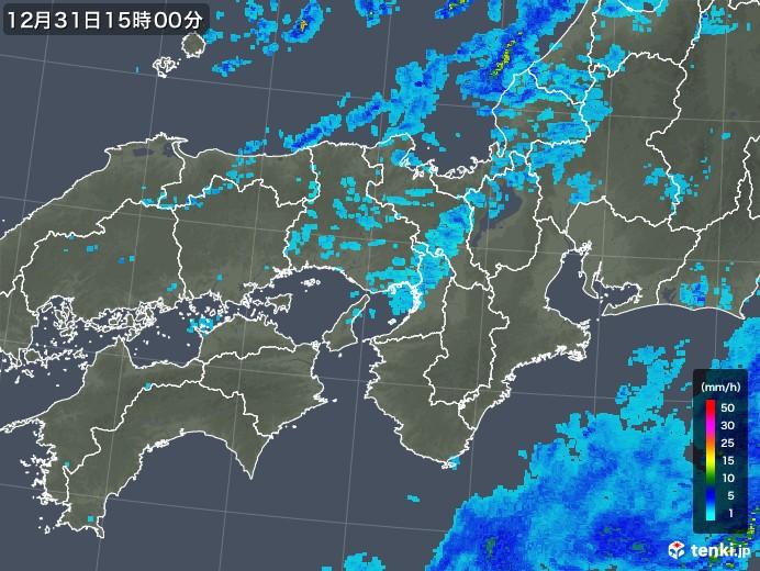 近畿地方の雨雲レーダー(2017年12月31日)