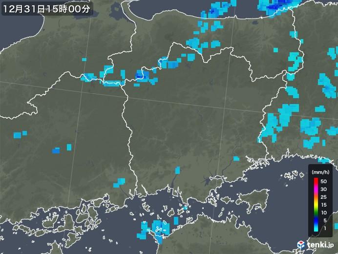 岡山県の雨雲レーダー(2017年12月31日)