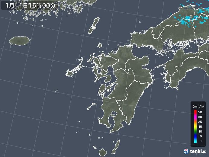 九州地方の雨雲レーダー(2018年01月01日)