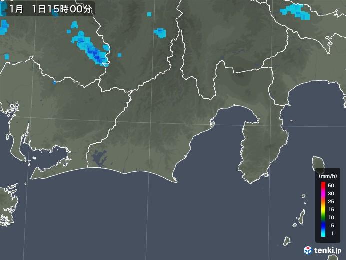静岡県の雨雲レーダー(2018年01月01日)