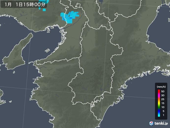 奈良県の雨雲レーダー(2018年01月01日)