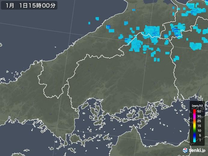 広島県の雨雲レーダー(2018年01月01日)