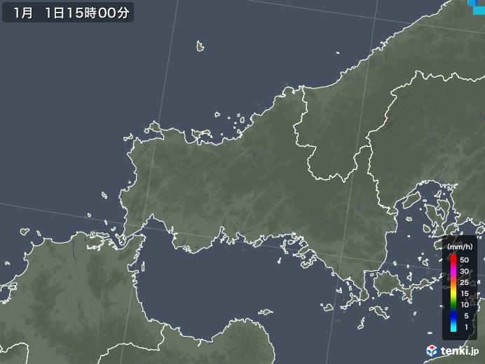 山口県の雨雲レーダー(2018年01月01日)