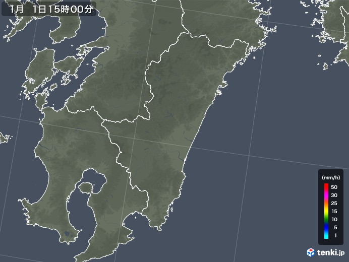 宮崎県の雨雲レーダー(2018年01月01日)