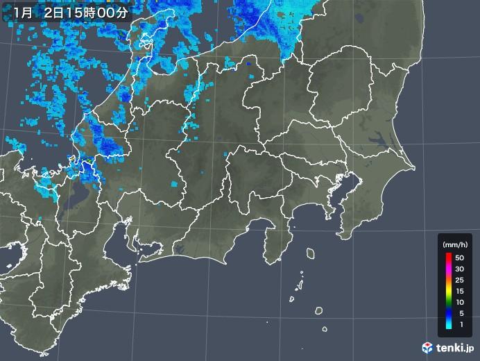 関東・甲信地方の雨雲レーダー(2018年01月02日)