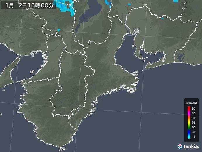 三重県の雨雲レーダー(2018年01月02日)