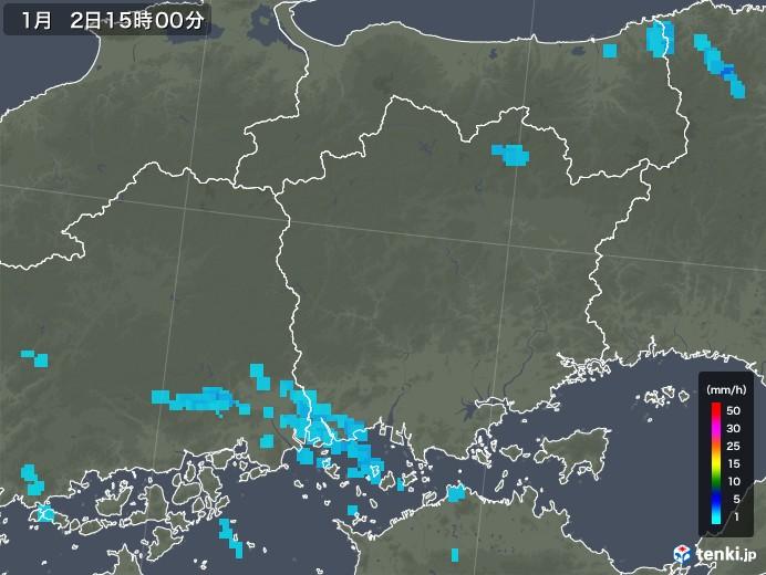 岡山県の雨雲レーダー(2018年01月02日)