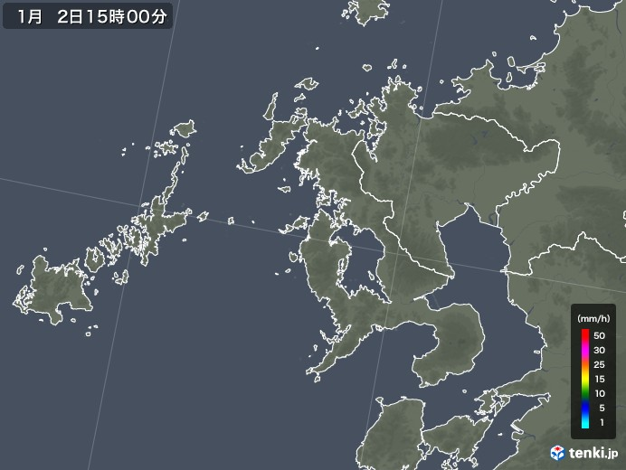 長崎県の雨雲レーダー(2018年01月02日)